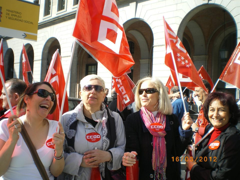 Salariées d'Orange Spain en manifestation le 15 septembre à Madrid